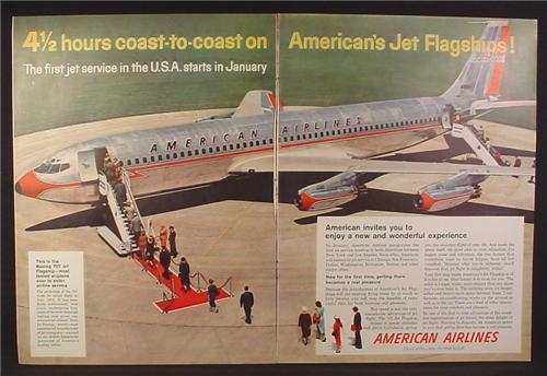 Magazine Ad for American Airlines, Being 707 Flagship Airplane, No N7501A, 1958