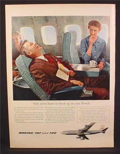Magazine Ad for Boeing 707 and 720 Jet Airplanes, 7 Hours To Learn French, 1958