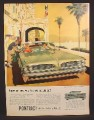 Magazine Ad for Pontiac Tempest 420E Green Car, Front Grill View, 1958