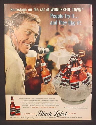 Magazine Ad for Carling Black Label Beer, Can & Bottles, Backstage at Wonderful Town 1958