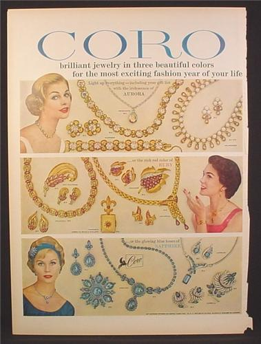 Magazine Ad for Coro Jewelry, Aurora Ruby & Sapphire Lines, 1958