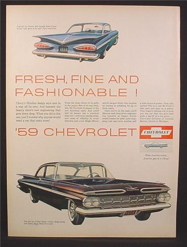 Magazine Ad for 1959 Chevrolet Impala Sport Coupe, Bel Air 2 Door Sedan, 1958
