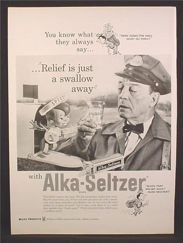 Magazine Ad for Alka-Seltzer, Speedy in Mailbox, Relief is Just A Swallow Away, 1958