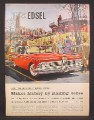Magazine Ad for 1959 Edsel Car, Red, Front & Side View, Football Stadium, 1958