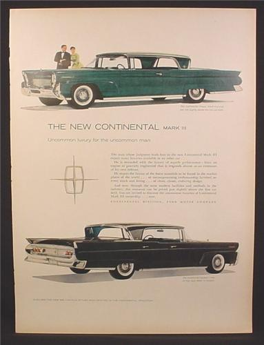Magazine Ad for Lincoln Continental Mark III Car, Green & Black, Side Views, 1958