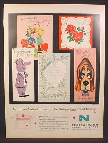 Magazine Ad for Norcross Greeting Cards, Valentines Cards, 1958