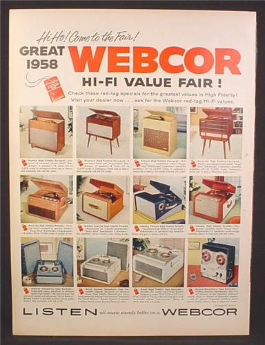 Magazine Ad for Webcor Hi Fi, Hi-Fi Stereos, 12 Different Models Shown, 1958