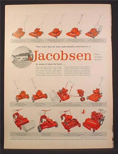 Magazine Ad for Jacobsen Lawn Mowers, Riding Mowers, 1958