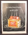 Magazine Ad for Miller High Life Beer 6 Cans in Take Home Six Carton, 1958