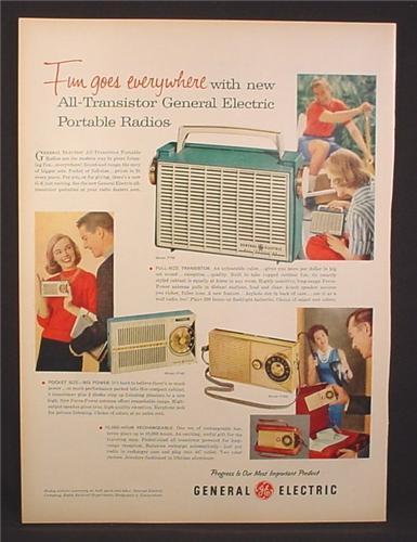 Magazine Ad for GE General Electric Portable Radios, Models P761 P746 P765, 1958