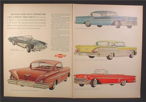 Magazine Ad for Chevrolet Cars, Corvette Convertible, Impala Sport Coupe, Impala, 1958