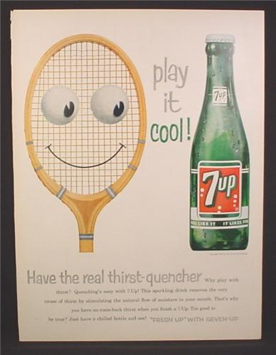 Magazine Ad for 7UP Seven-Up, Tennis Racquet with Eyes, Frosty Bottle, 1958