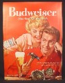 Magazine Ad for Budweiser Beer, Wife Pouring Beer for Husband, 1958