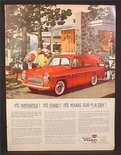 Magazine Ad for English Ford Line 4 Door Prefect Car, Dollar A Day, 1959
