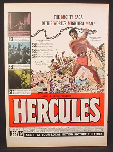 Magazine Ad for Hercules Movie, Steve Reeves, Gianna Maria Canale, Poster, 1959