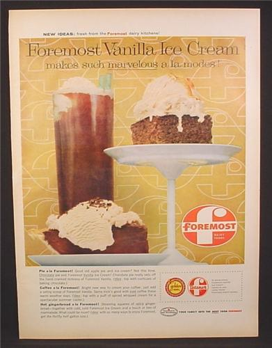 Magazine Ad for Foremost Vanilla Ice Cream, On Pie & Hot Gingerbread, 1959