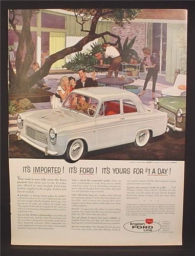 Magazine Ad for English Ford Line 2 Door Anglia Car, Dollar A Day, 1959