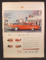 Magazine Ad for 59 Dodge 4 Door Sierra Station Wagon, Red, Side View, 1959