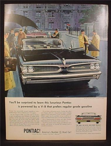 Magazine Ad for Pontiac Tempest 420E Convertible, Front Grill View, 1959