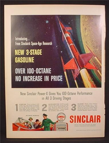Magazine Ad for Sinclair Power-X Gasoline, Pump with Globe, Rocket, 1959