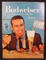 Magazine Ad for Budweiser Beer, Eating Dinner, Pouring From Can To Tall Glass, 1959