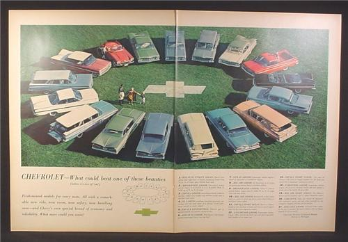Magazine Ad for Chevrolet Cars, 17 Models in A Circle On A Field Of Grass, 1959