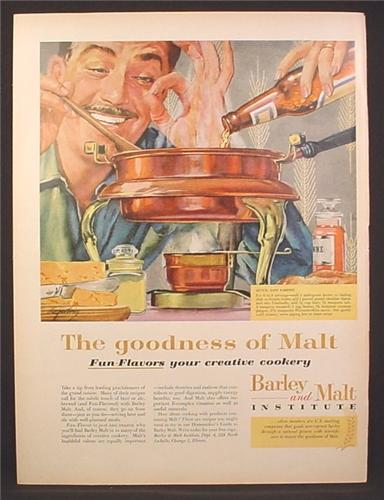 Magazine Ad for Barley & Malt Institute, Cooking With Beer, 1959