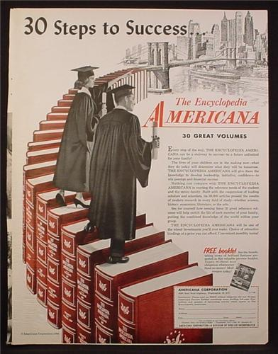 Magazine Ad for The Encyclopedia Americana, 30 Steps To Success, 1960