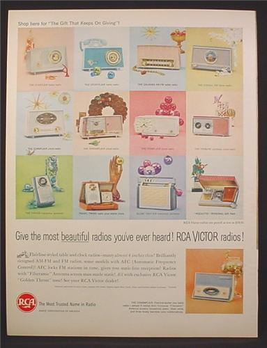 Magazine Ad for RCA Radios, Desk & Portable, 12 Different Models Shown, 1960