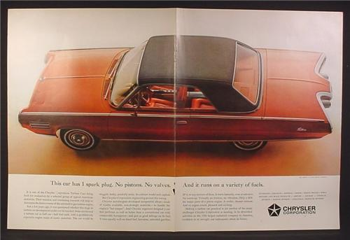 Magazine Ad for Chrysler Experimental Turbine Car, 1 Spark Plug, No Pistons, 1963, Double Page Ad