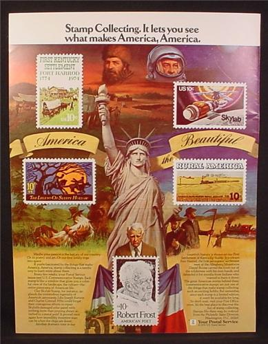 Magazine Ad for United States Postal Service, USPS, Stamp Collecting 10 Cent Stamps, 1976