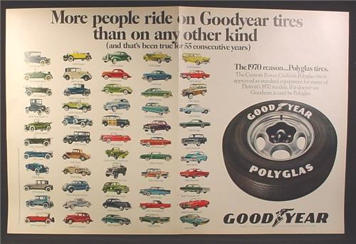 Magazine Ad for Goodyear Polyglas Tire, 55 Consecutive Years of Vehicles, 1970