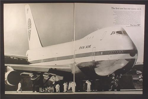 Magazine Ad for Pan Am Pan American Airlines, First Boeing 747 Airplane in Service, 1970