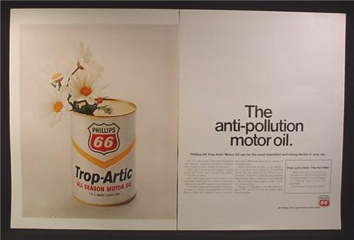 Magazine Ad for Phillips 66 Trop-Artic All Season Motor Oil, Large Can With Flowers, 1970