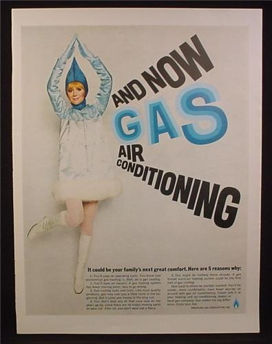 Magazine Ad for Natural Gas Air Condition, Woman in Blue Flame Costume, 1970