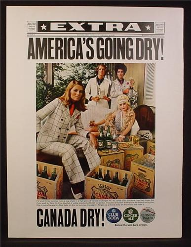 Magazine Ad for Canada Dry, Women in Prohibition Era Suits, Going Dry, 1970