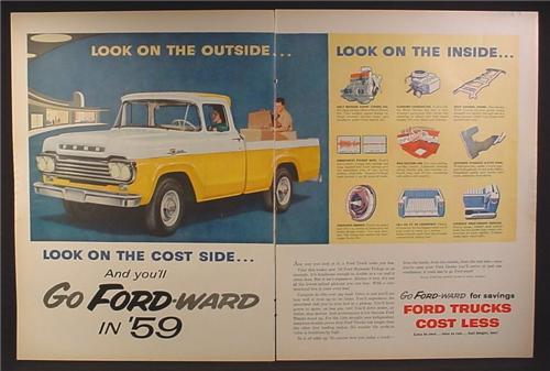 Magazine Ad for Ford Styleside Pickup Truck, Yellow & White, 1959, Double Page Ad