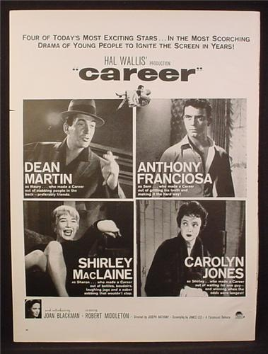 Magazine Ad for Career Paramount Movie, Dean Martin, Shirley MacLaine, 1959