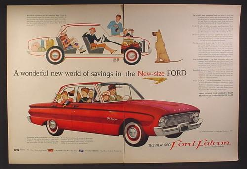 Magazine Ad for Ford Falcon Car, Red, Side View, 1959, Double Page Ad