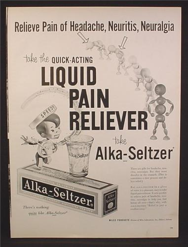 Magazine Ad for Alka-Seltzer, Speedy Standing On a Box, Alka Seltzer, 1959