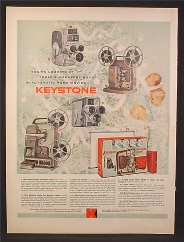 Magazine Ad for Keystone Movie Projectors, 5 Models, Home Movie Outfit, 1959