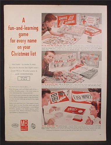 Magazine Ad for Milton Bradley Board Games, Park And Shop, Easy Money, Uncle Wiggily, 1959