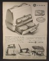 Magazine Ad for GE General Electric Toast-R-Oven, Iron, Mixer, Frying Pan, 1960