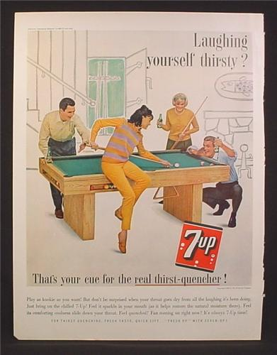 Magazine Ad for 7UP Seven-Up, Playing Pool, Shooting Behind Her Back, 1963