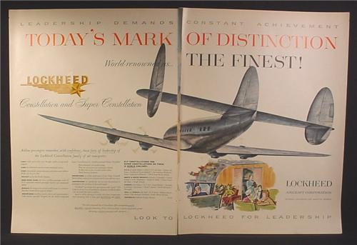 Magazine Ad for Lockheed Super Constellation Airplane, 1954