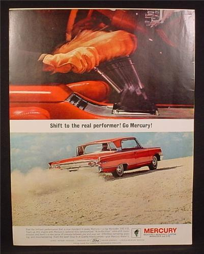 Magazine Ad for Mercury S-55 2 Door Hardtop Car, Red, Gear Shift, Rear & Side View, 1963