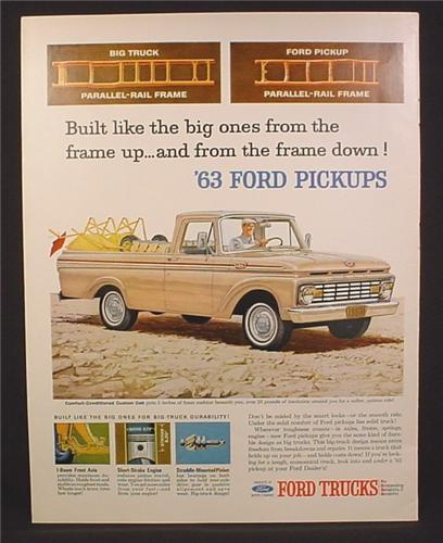 Magazine Ad for Ford 100 Custom Cab Truck, F100, Front & Side View, 1963