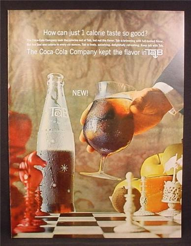 Magazine Ad for Tab 1 Calorie Soft Drink by Coca-Cola, Bottle, Chess Game, 1964