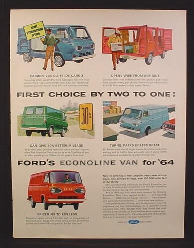 Magazine Ad for Ford Econoline Van, 5 Colors & Views, 1964