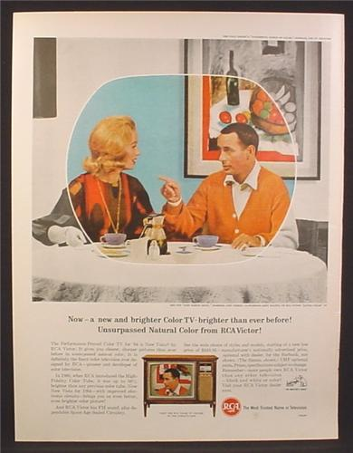 Magazine Ad for RCA Victor New Vista Color Television, Joey Bishop TV Show, 1964
